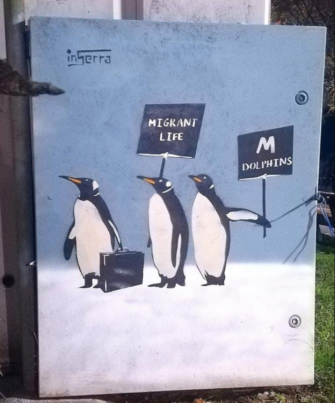pinguini-street-art-inserra-salerno-lungomare-inserra-migrant-life-luci-artista-inserra
