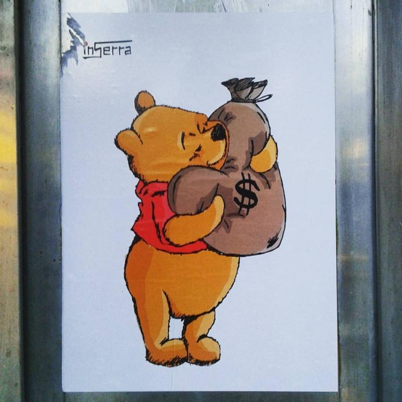 winnie money inserra disney love true street art spagna barcellona